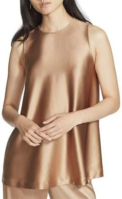 Lafayette 148 New York Zorianna Reverie Satin Cloth Sleeveless Blouse