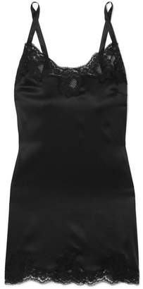 Dolce & Gabbana Lace-trimmed Silk-blend Satin Chemise - Black