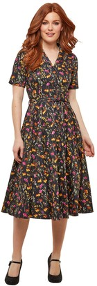 Joe Browns Cotton Short Flared Dress in Floral Print