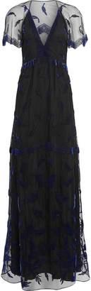 Burberry Velvet Leaf Cap-sleeve Gown