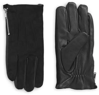 John Varvatos Leather Suede Side Zip Gloves