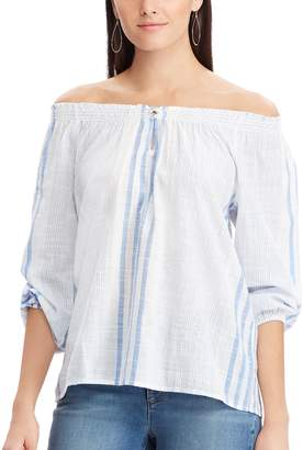 Chaps Women's Plaid Off-the-Shoulder Top