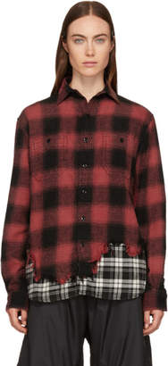 R 13 Black and Red Tattered Hem Shirt