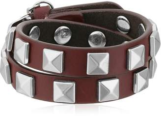 Rebecca Minkoff Double Row with Pyramid Studs Leather Bracelet