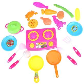 Chinatera Kids Girls 20Pcs Plastic Kitchen Food Cooking Pretend Play Set Toys Children Role Playing Playhouse Toy