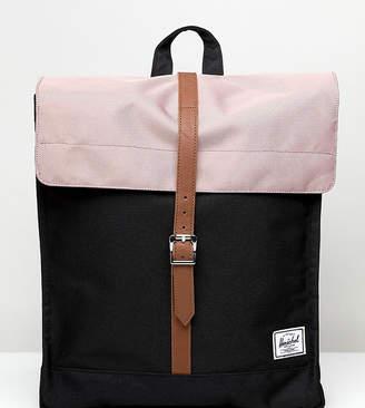 Herschel City backpack in ash rose pink and black