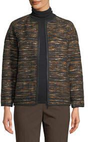 Alexa Zip-Front Tweed Jacket
