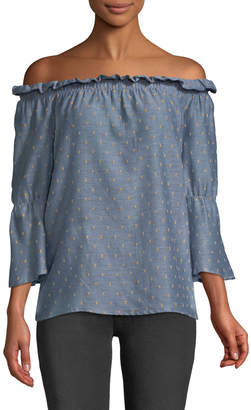 Bobeau Martha Off-The-Shoulder Flare Sleeve Blouse