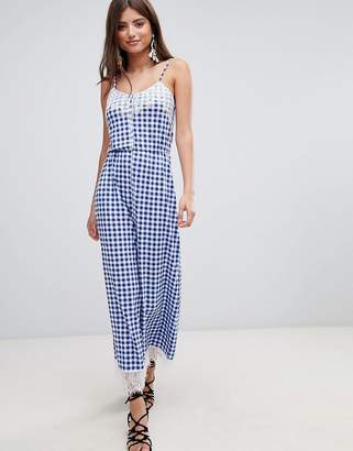 Asos Design Lace Trim Button Front Cami Jumpsuit In Gingham