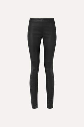 Akris Fria Leather Skinny Pants - Black
