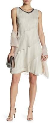 Komarov Tiered Lace Asymmetric Dress with Shawl