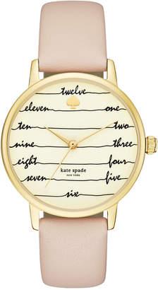Kate Spade Women Metro Vachetta Leather Strap Watch 34mm KSW1059