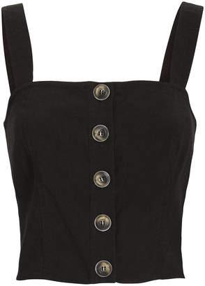 Intermix Gianna Button Front Linen Crop Top