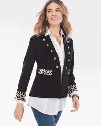 Leopard-Print Trim Blazer
