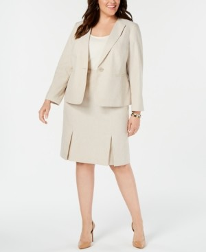 Le Suit Plus Size Seamed Pleated Skirt Suit