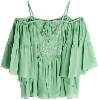 Roberto Cavalli Silk Cold-Shoulder Top