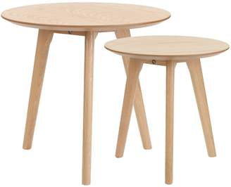 Webster Temple & 2 Piece Lund Wooden Nesting Tables