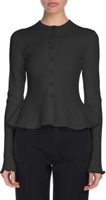 Proenza Schouler Crewneck Button-Front Cashmere Ribbed Peplum Cardigan
