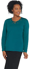 Bob Mackie Bob Mackie's V-Neck Laced Front Grommet KnitTop