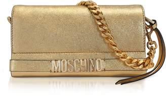 Moschino Gold Metallic Leather Clutch W/chain Strap