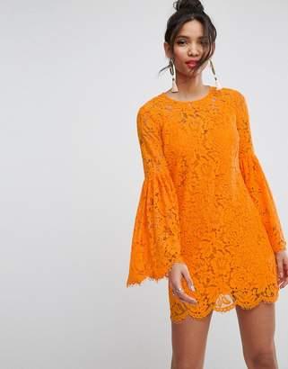 Asos DESIGN Lace Trumpet Sleeve Mini Dress