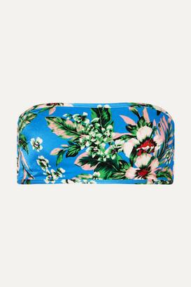 Diane von Furstenberg Floral-print Bandeau Bikini Top - Blue