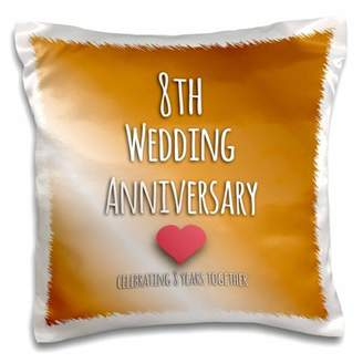 3dRose 8th Wedding Anniversary gift - Bronze celebrating 8 years together eighth anniversaries eight yrs - Pillow Case, 16 by 16-inch
