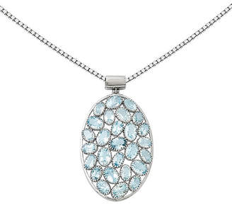 FINE JEWELRY Simulated Blue Topaz Sterling Silver Pendant Necklace