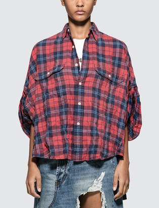 R 13 Oversized Rolled-sleeve Plaid Shirt