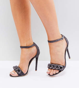 Lost Ink Wide Fit Light Grey Chain Detail Heeled Sandals