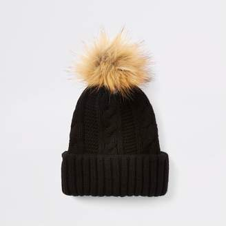 River Island Womens Black cable knit pom pom hat