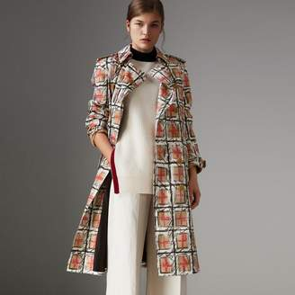 Burberry Scribble Check Cotton Trench Coat
