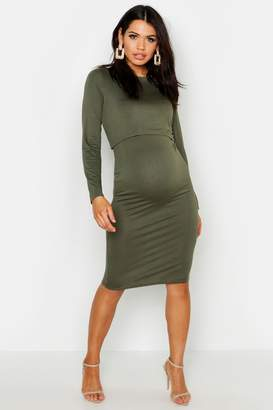 boohoo Maternity Long Sleeve Nursing Midi Dress