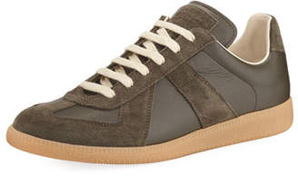 Maison Margiela Men's Replica Leather & Suede Low-Top Sneakers, Green