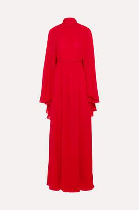 Giambattista Valli Cape-effect Silk-chiffon Gown - Red
