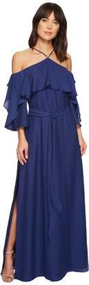 Halston Short Sleeve Cold Shoulder Gown w/ Flounce Women's Dress
