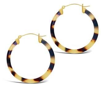 Sterling Forever 14K Yellow Gold Plated 50mm Honey Tortoise Acetate Hoop Earrings