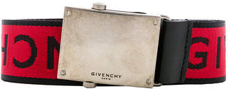 Givenchy Plate Buckle Belt in Black & Red | FWRD