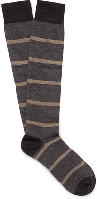Marcoliani Striped Merino Wool-Blend Over-the-Calf Socks $36 thestylecure.com