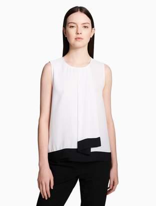 Calvin Klein contrast drape overlapping sleeveless top