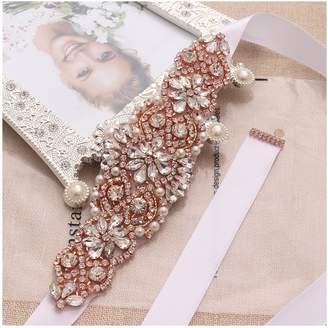 Yanstar Wedding Bridal Belts Blush Sashes Handmade Silver Rhinestone Beads Belt For Bridal Bridesmaid Dresses
