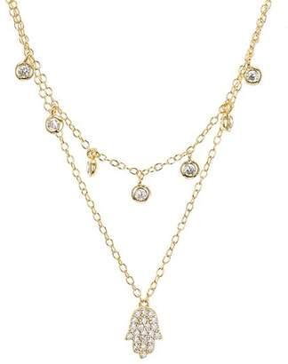 "Aqua Sterling Silver Hamsa Layered Necklace, 16-17"" - 100% Exclusive"