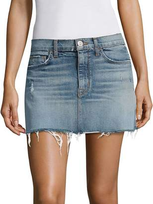 Hudson Women's Distressed Denim Mini Skirt With Frayed Hem - Blue, Size 30 (8-10)