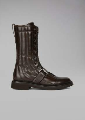 Giorgio Armani Boot In Glossy Quilted Leather With Top Buckle