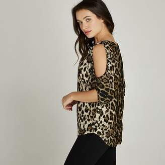 2454989e56f57d Leopard Print Cold Shoulder Top - ShopStyle UK