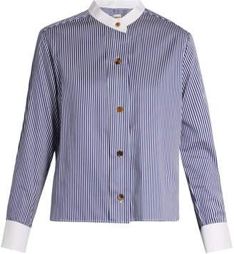 KHAITE Paloma striped collarless box-cut shirt