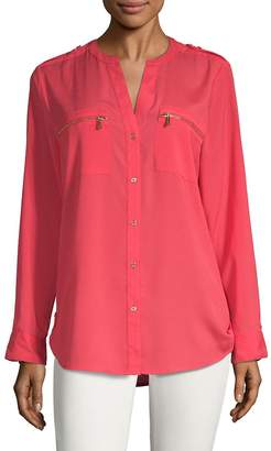 Calvin Klein Women's Rolled-Up Sleeves Blouse