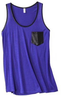 Xhilaration Juniors Faux Leather Trim Racerback Tank - Assorted Colors