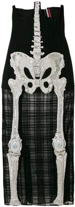Thom Browne Trouser Length Cardigan Skirt In Crystal Skeleton Embroidery