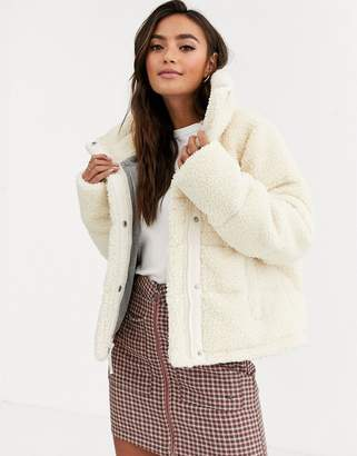 Abercrombie & Fitch mini puffer jacket in cream
